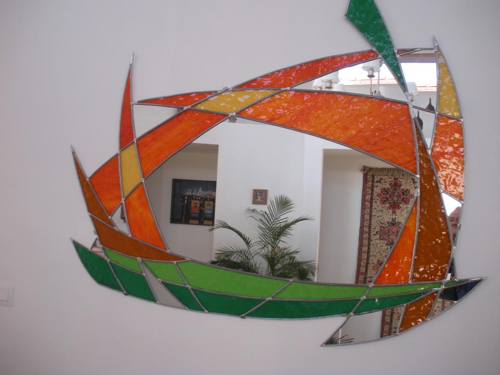 vitrail miroir contemporain vitraux d 39 art vanessa dazelle. Black Bedroom Furniture Sets. Home Design Ideas