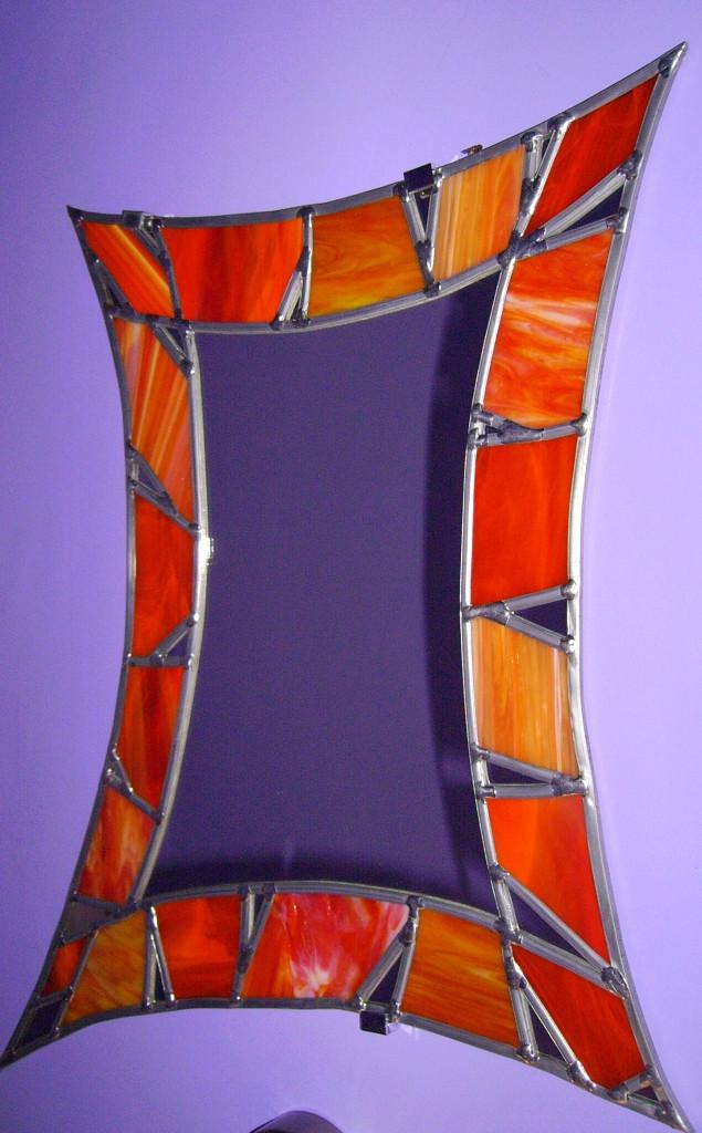 vitrail miroir contemporain orange clats miroir vitraux d 39 art vanessa dazelle. Black Bedroom Furniture Sets. Home Design Ideas