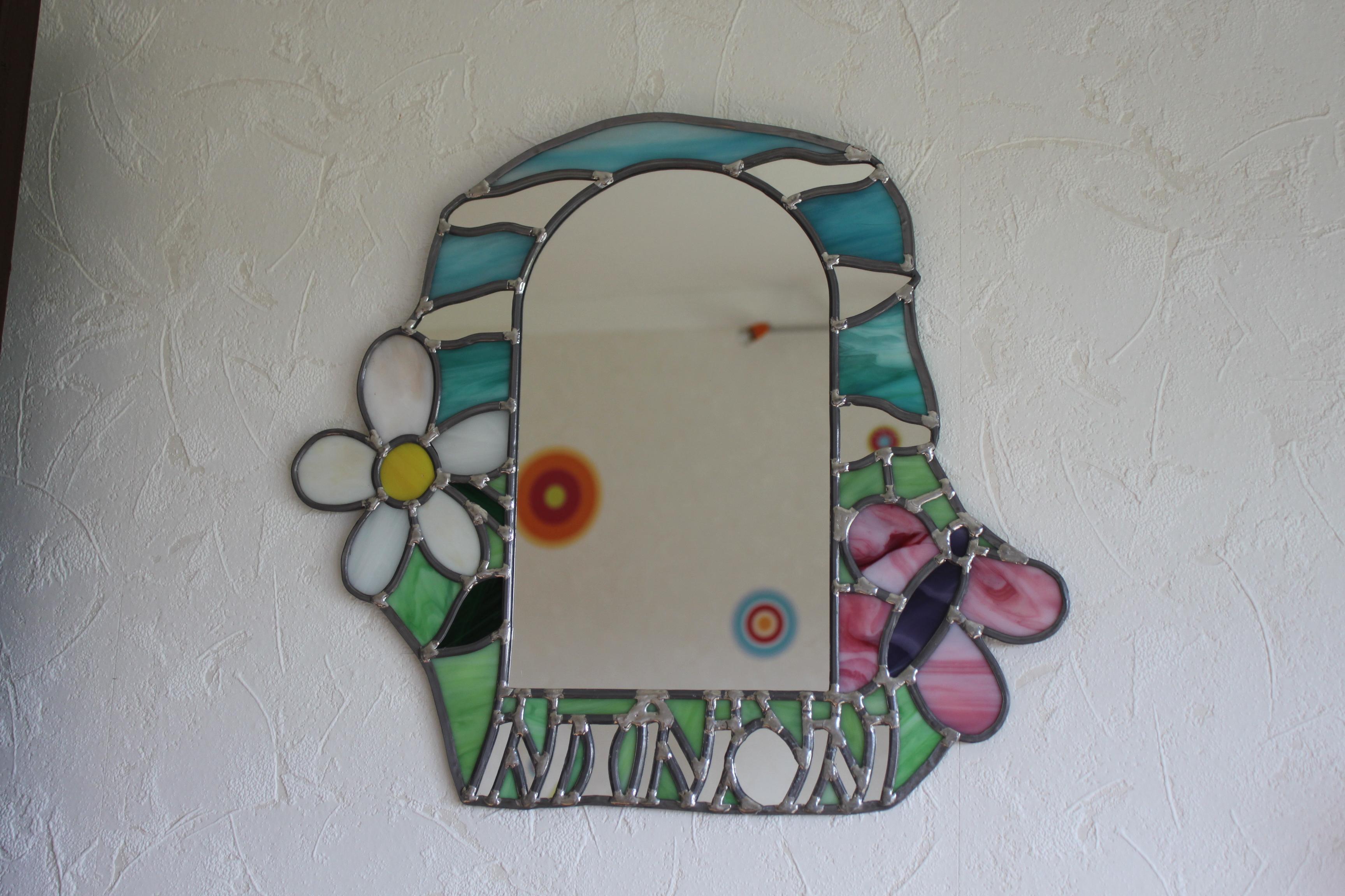vitrail miroir enfant ninon vitraux d 39 art vanessa dazelle. Black Bedroom Furniture Sets. Home Design Ideas