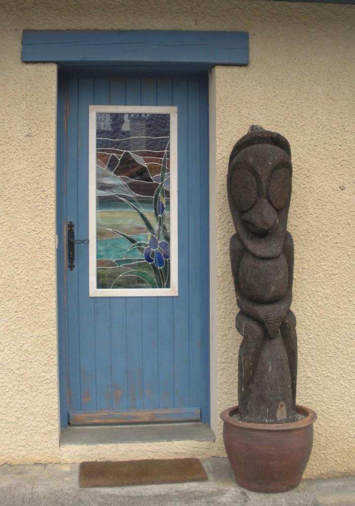 Vitrail porte d entr e bleue vitraux d 39 art vanessa dazelle - Porte d entree avec vitrail ...