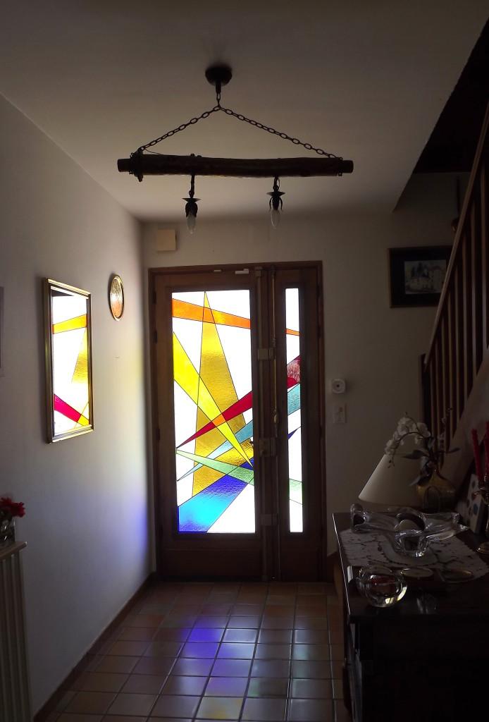 Vitrail porte d entr e ch ne massif vitraux d 39 art vanessa dazelle - Porte d entree avec vitrail ...