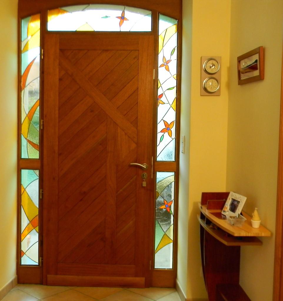 Vitrail porte d entr e contemporaine impostes fixes entourage vitraux d 39 art vanessa dazelle - Porte d entree avec vitrail ...