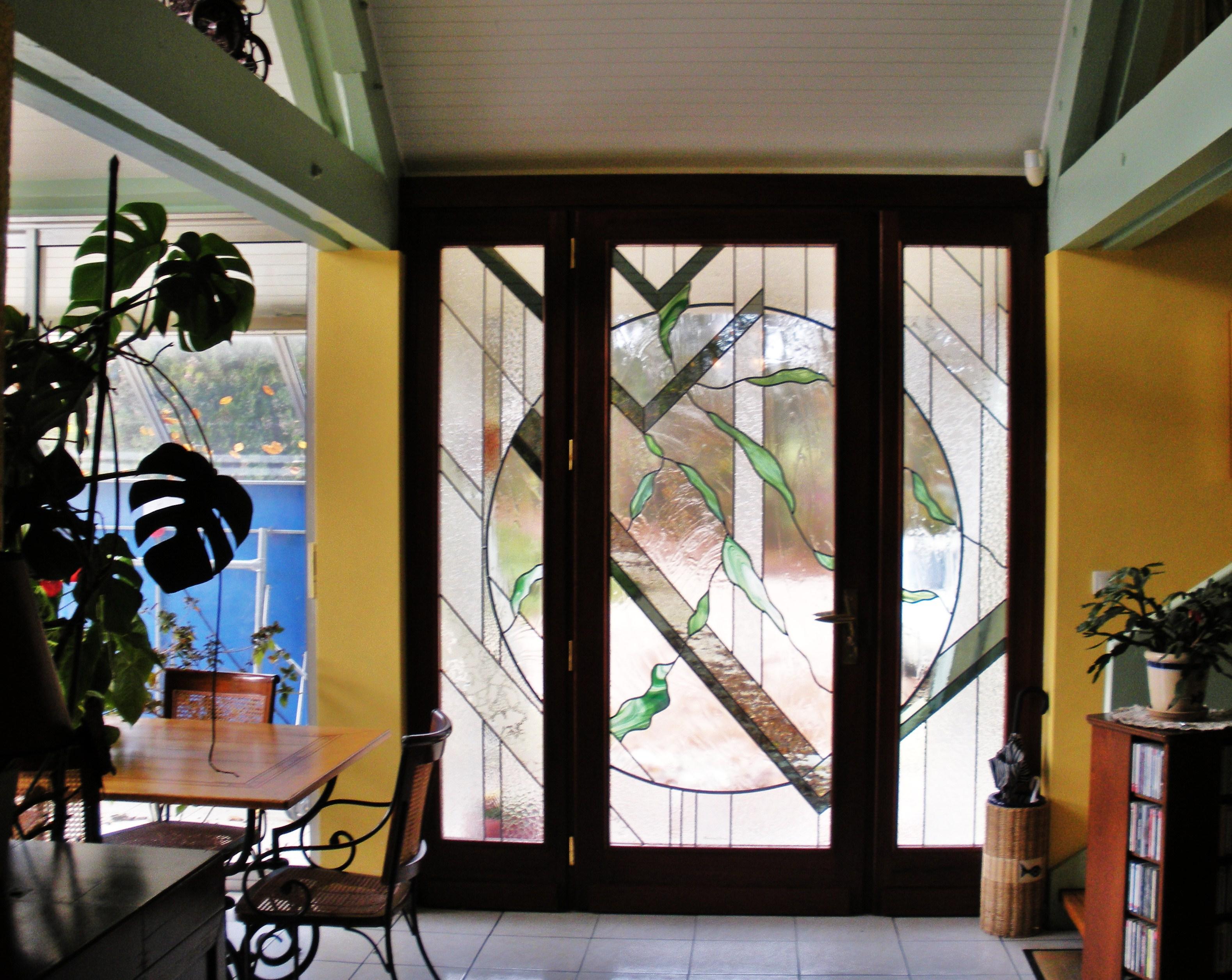 Vitrail porte d entr e triple contemporaine - Porte d entree avec vitrail ...