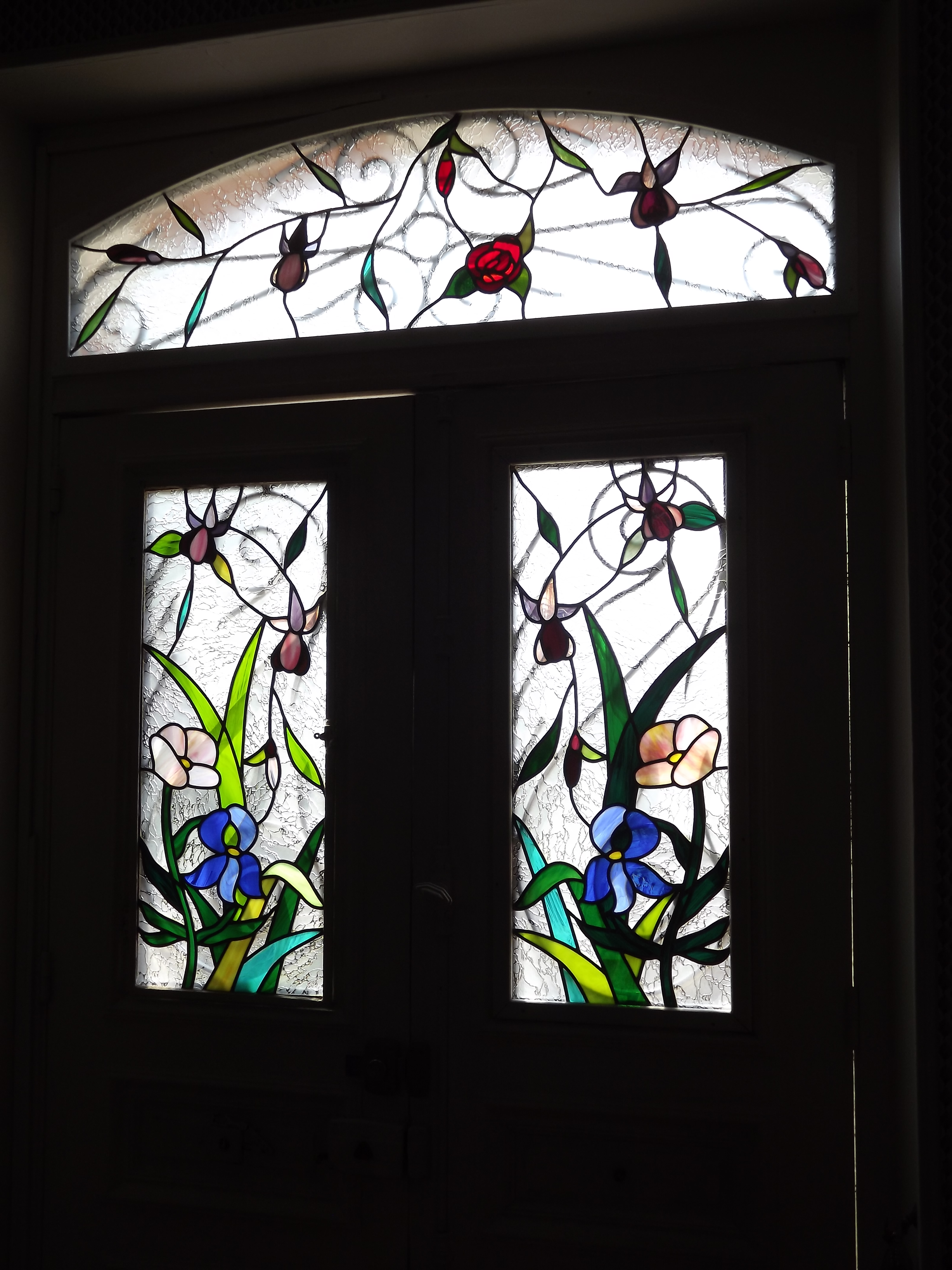 vitrail porte entr e motif floral. Black Bedroom Furniture Sets. Home Design Ideas