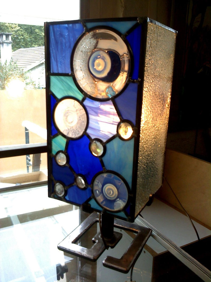 Lampe Pied Vitrail Fer Vanessa ForgéVitraux Dazelle D'art jqVGzpSLUM