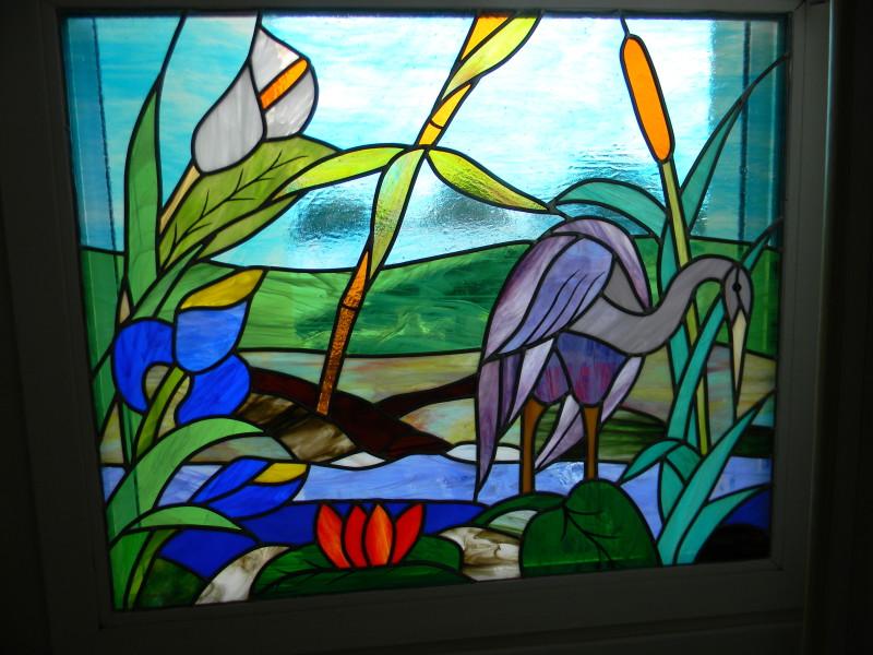 vitrail h ron et fleurs vitraux d 39 art vanessa dazelle. Black Bedroom Furniture Sets. Home Design Ideas