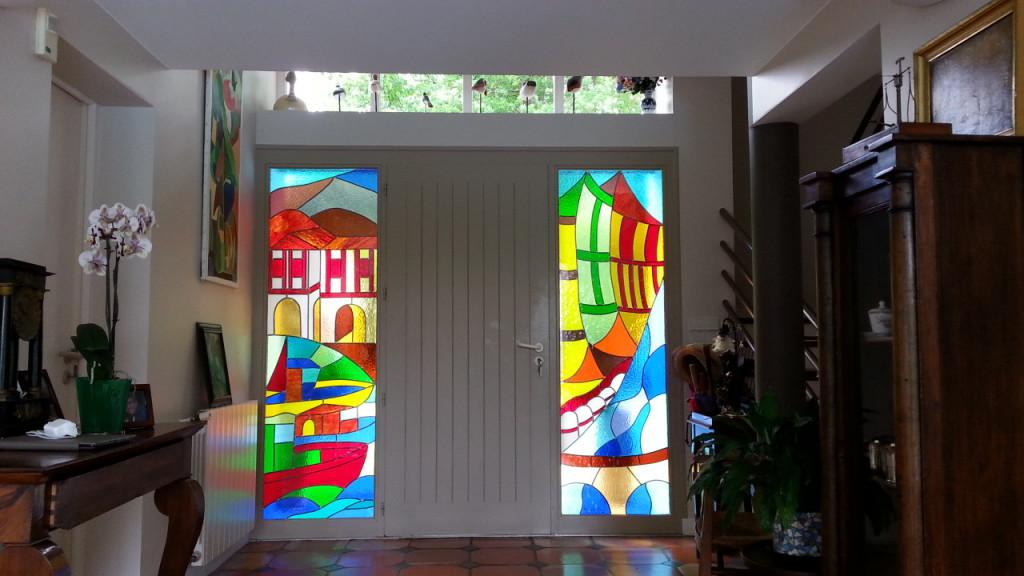 Vitrail porte d entr e st p sur nivelle vitraux d 39 art for Porte d entree avec partie fixe