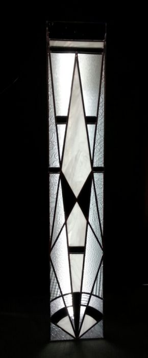colonne lumineuse  vitrail art deco blanc