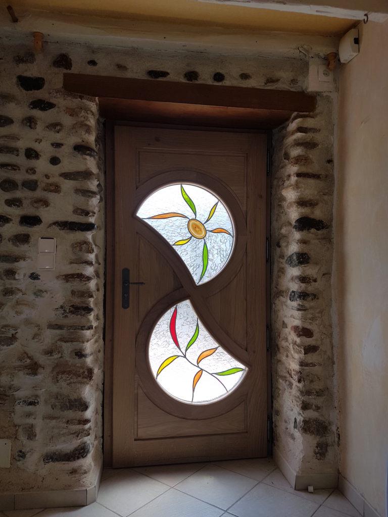Porte d entr e sur mesure avec vitrail en double vitrage vitraux d 39 art vanessa dazelle - Porte d entree avec vitrail ...