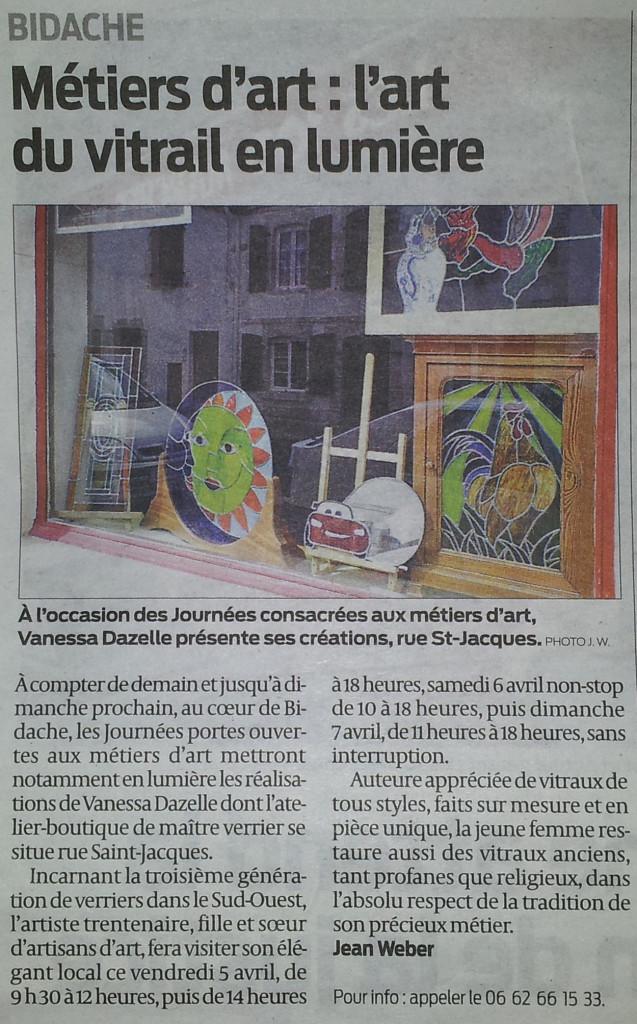 A l'occasion des Journées consacrées aux métiers d'art, Vanessa Dazelle présente ses créations, rue St-Jacques