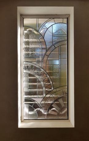 Ancien vitrail multicolore Art-déco  vitraux en losange tour en metal